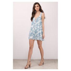 TOBI white and blue paisley shift dress